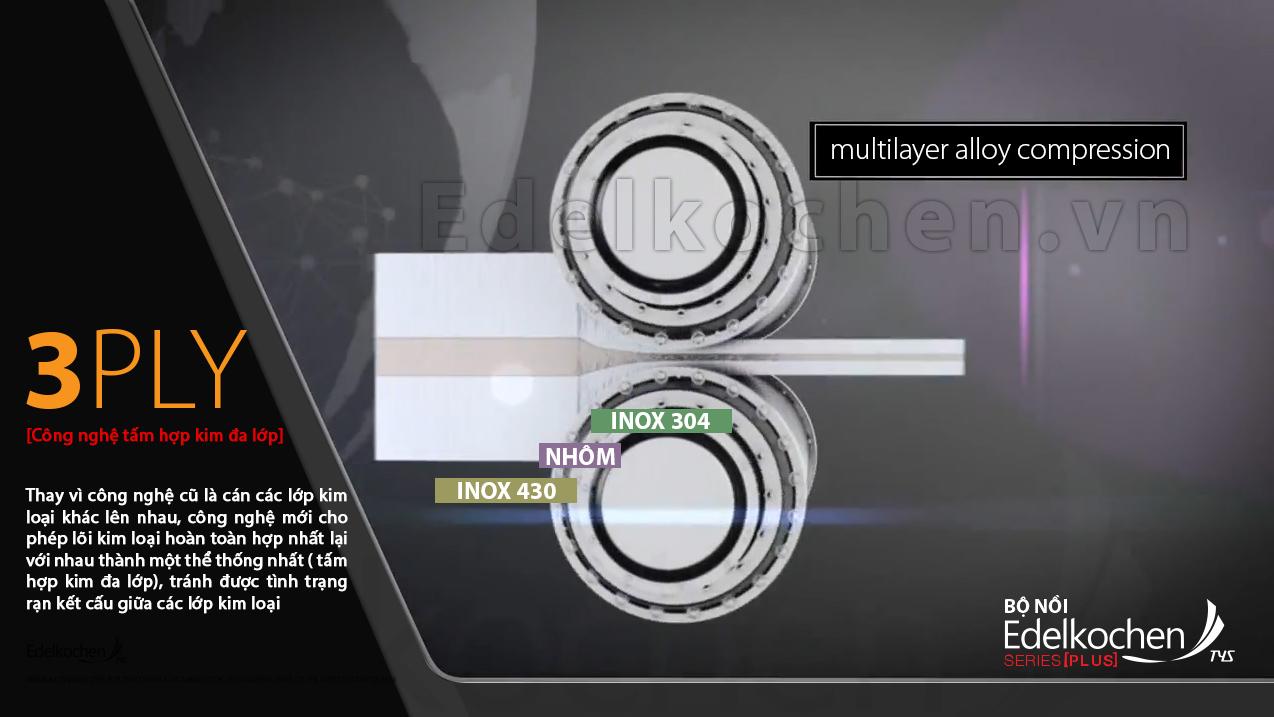 gia  công kỹ thuật cao tấm hợp kim đa lớp tạo thành thân nồi của bộ nồi Edelkochen Plus